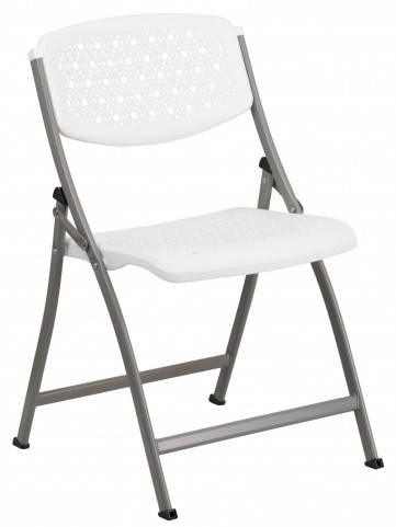 Hercules Series White Designer Comfort Molded Folding Chair