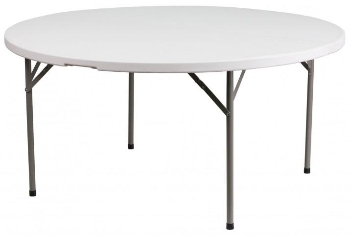 "60"" Round Granite White Plastic Folding Table"
