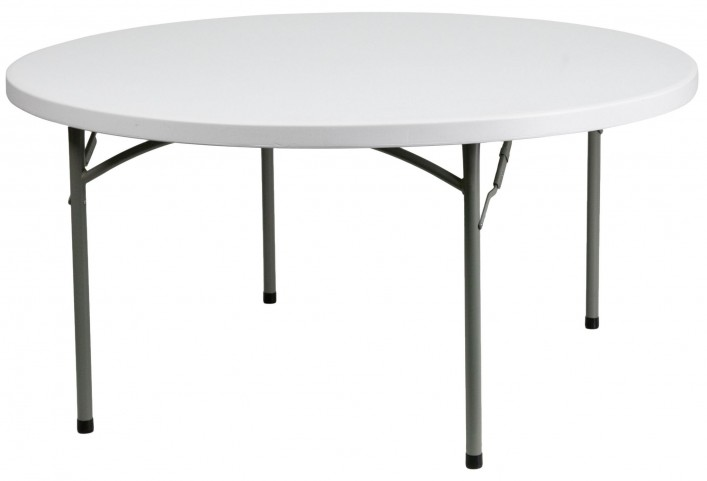 "152R 60"" Round Granite White Plastic Folding Table"