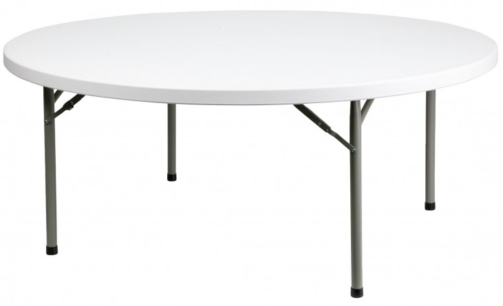 "71"" Round Granite White Plastic Folding Table"