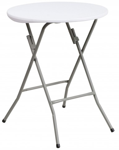 "24"" Round Granite White Plastic Folding Table"