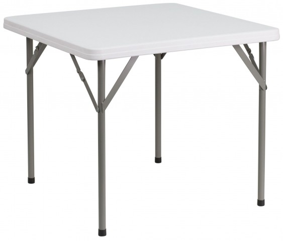 "34"" Square Granite White Plastic Folding Table"