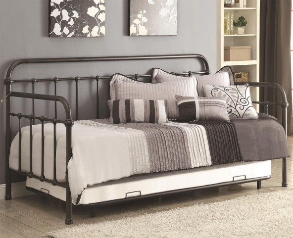 300398 Dark Bronze Metal Daybed with Trundle