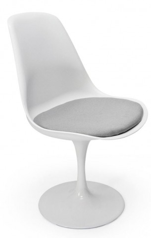 Euro Home Melina White With Gray Cushion Chair