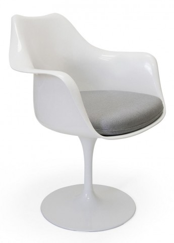 Euro Home Amsterdam White With Gray Cushion Chair