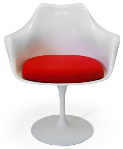 Euro Home Amsterdam White With Red Cushion Chair