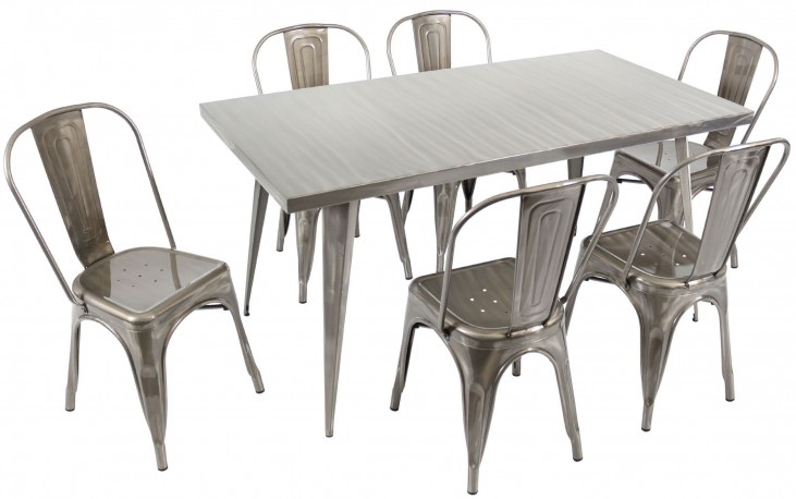 Austin Rectangular Silver Dining Room Set