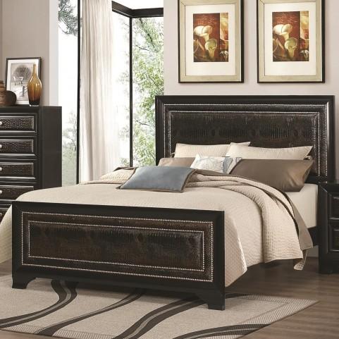 Delano Black Queen Upholstered Panel Bed