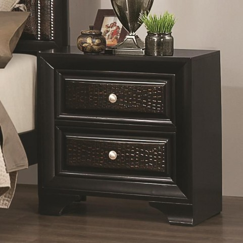 Delano Black 2 Drawer Upholstered Nightstand