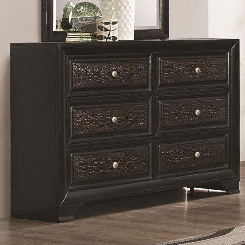 Delano Black 6 Drawer Upholstered Dresser