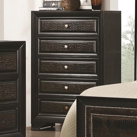 Delano Black 5 Drawer Upholstered Chest