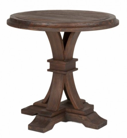 Devon Rustic Java Round Accent Table