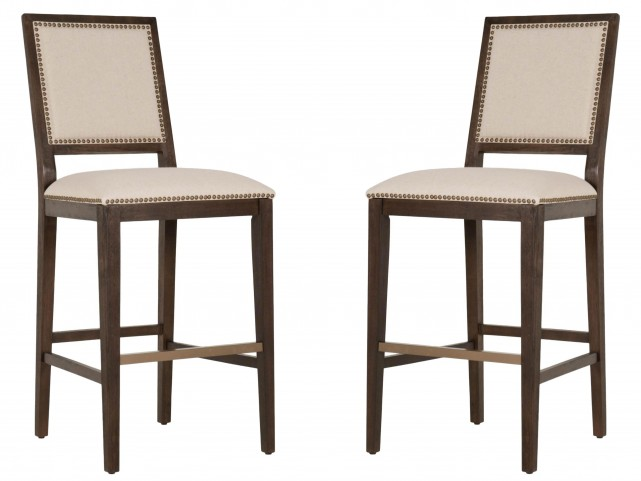 Dexter Rustic Java Bronze Nail Head Bar Stool Set of 2