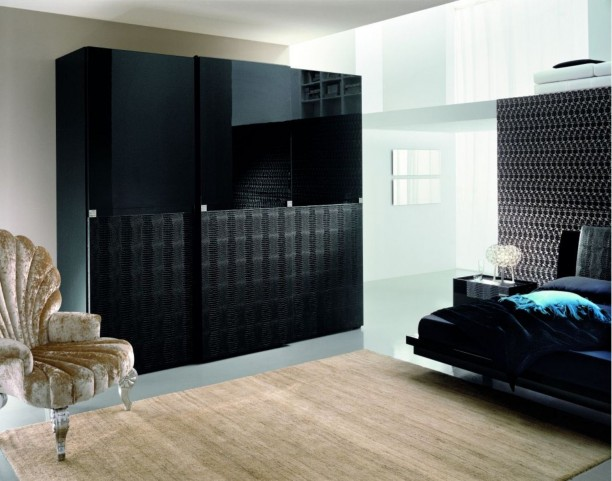 Diamond Black Sliding Door Wardrobe (4 Doors)