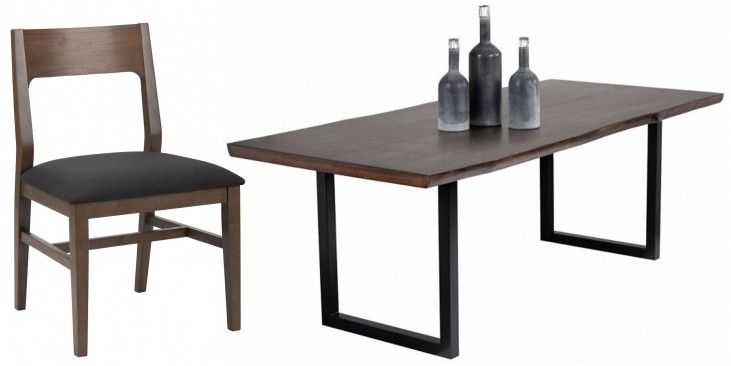 Dixon Dark Brown and Black Rectangular Dining Room Set