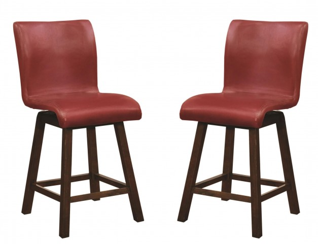 "100214 24"" Red Sculpted Bar Stool Set of 2"