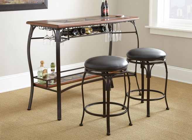 Dakota Wine Storage 3 Piece Counter Bar Set