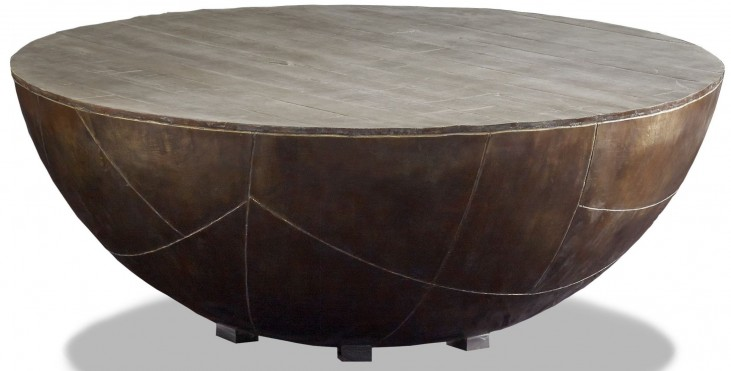 Delano Antiqued Brass Drum Coffee Table