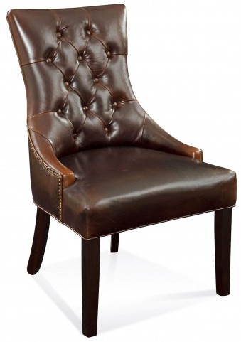 Fortnum Brown Leather Tufted Nailhead Parson Chair