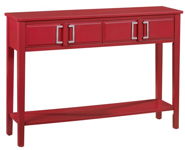 Traditional Vibrant Brick 2 Drawer Console Table