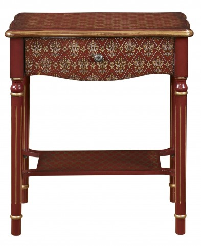 Red & Gold Asian Influence Drawer Accent Table