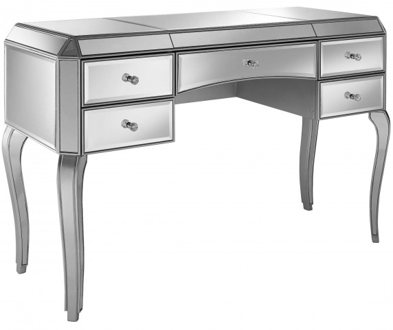Metallic Silver 5 Drawer Mirrored Desk