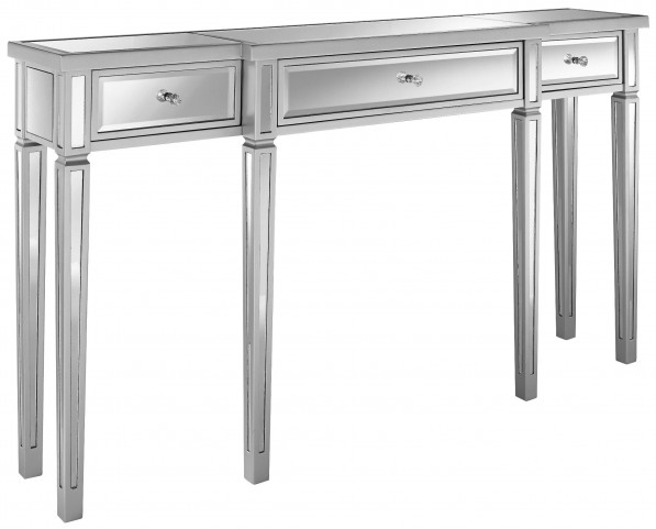 Metallic Silver Mirrored Console