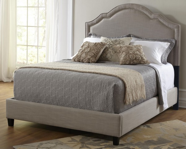 Shaped Nailhead King Upholstered Bed