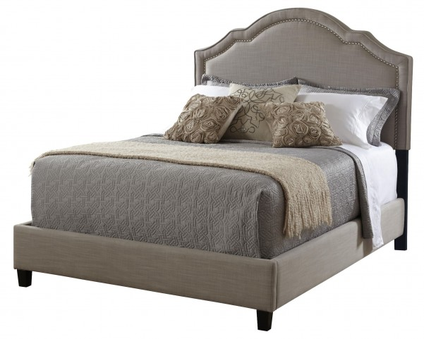 Brown Shaped Nailhead King Platform Bed