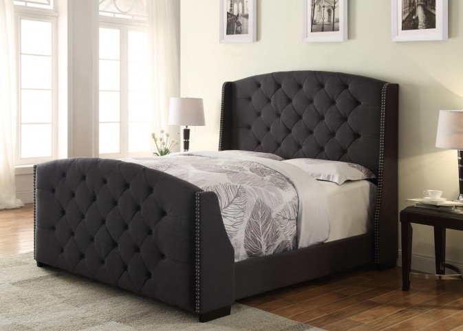 Linosa Charcoal Queen Upholstered Bed