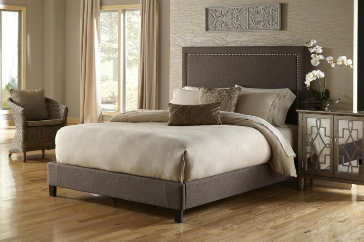 Queen Upholstered Square Nailhead Bed