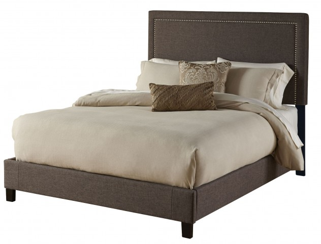 Square Nailhead King Upholstered Platform Bed