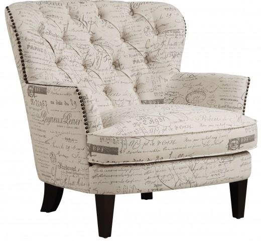 Paris Script Upholstered Arm Chair