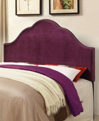 Glam Velvet Plum Queen Upholstered Headboard