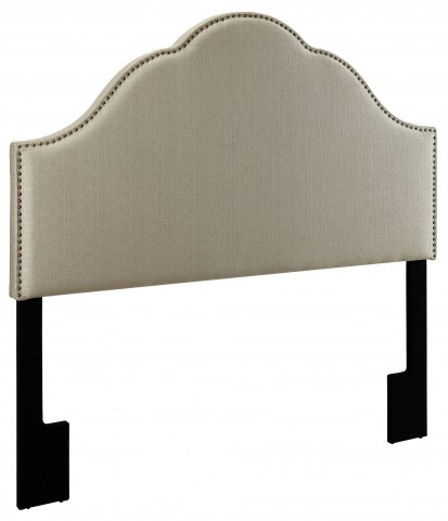 Glam Tux Oatmeal Queen Upholstered Headboard
