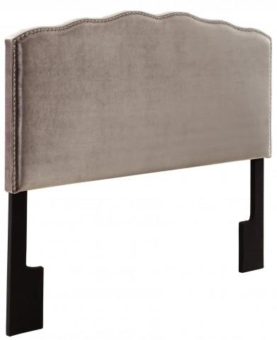 Velvet Shimmer Nailhead Shaped King Upholstered Headboard