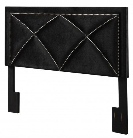 Velvet Black Queen Upholstered Headboard