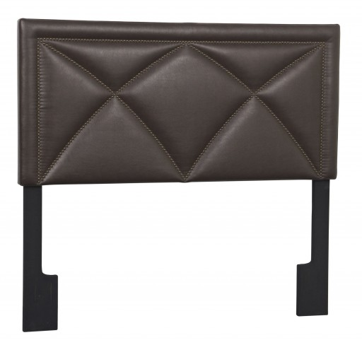 Brown Bonded Leather Queen Upholstered Headboard