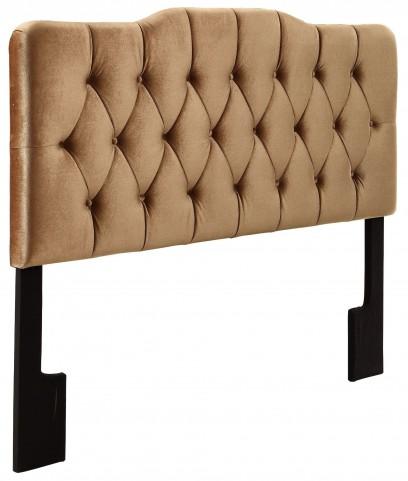 Velvet Bronze Queen Upholstered Soft Shape Headboard