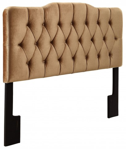 Velvet Bronze King Upholstered Soft Shape Headboard