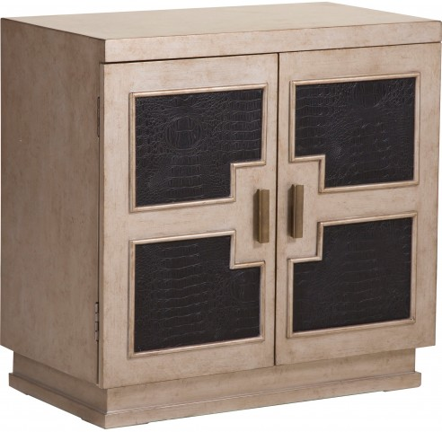 Geometric Panel Burnished Silver Door Chest