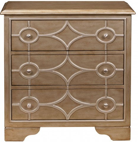Diamond Overlay Burnished Gold Drawer Chest