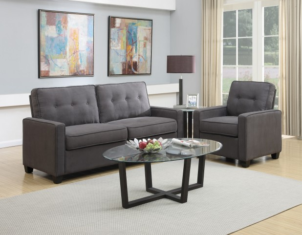 Tufted Back Vernon Slate Living Room Set