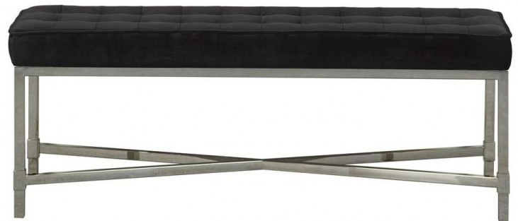 Black Velvet Upholstered Metal Bed Bench