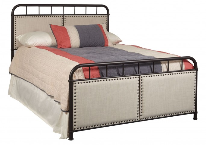 All-in-One Linen Queen Upholstered Metal Bed