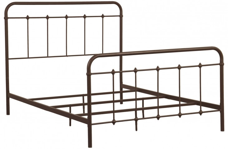 Brown Queen Curve Metal Bed