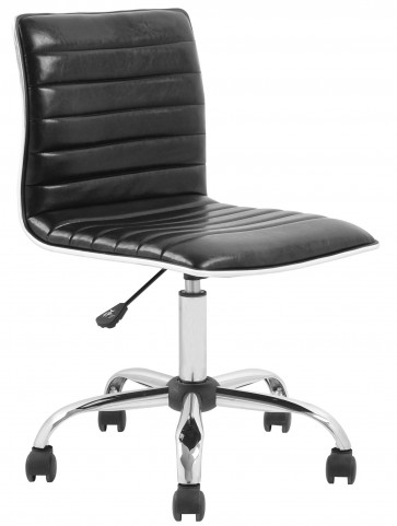 Armless Black Ribbed Designer Task Chair