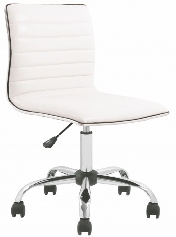 Armless White Ribbed Designer Task Chair