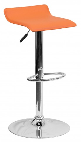 1000785 Orange Vinyl Adjustable Height Bar Stool