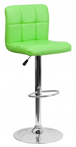 Green Quilted Adjustable Height Bar Stool